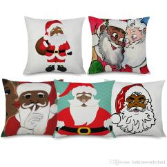 Holiday Decorative Chair Covers Zero Gravity Sale African American Santa Claus Cushion Merry Christmas Linen Pillow Case 45x45cm Sofa Decor Online With
