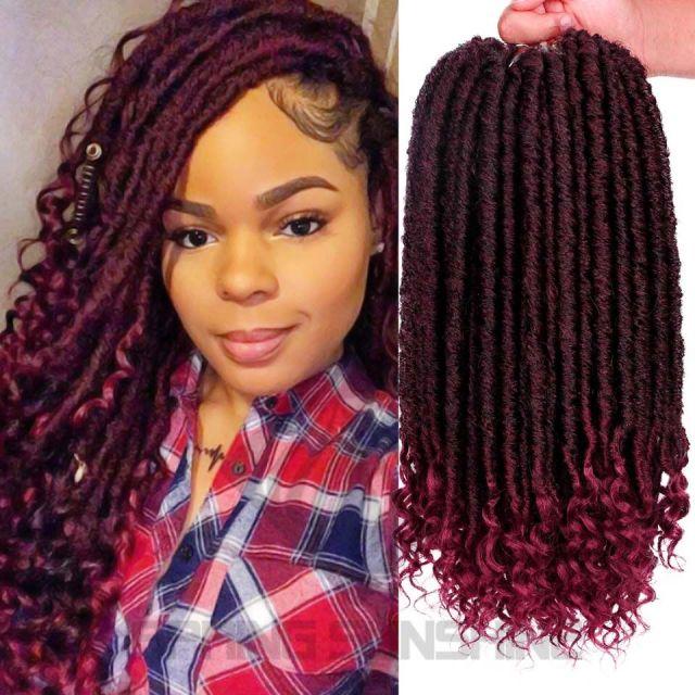 goddess faux locs hair crochet dreadlocks hair extensions kanekalon jumbo dreads hairstyle ombre curly fauxlocs crochet braids