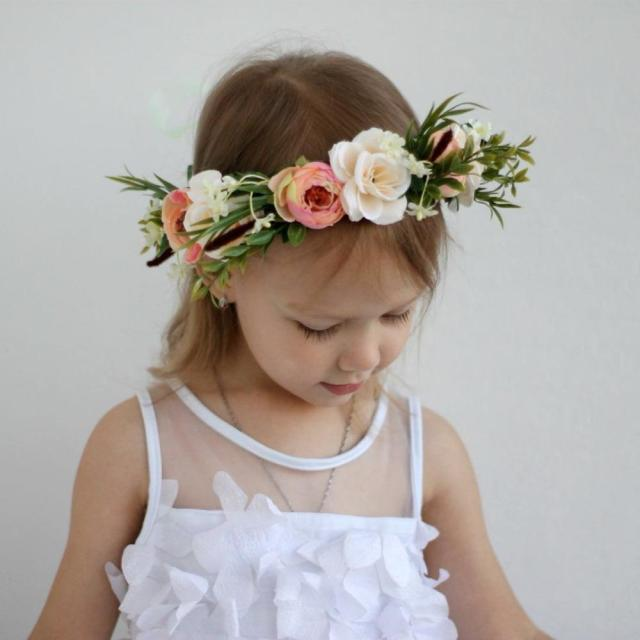 cxadditions ladies kid adjustable flower crown beach wedding flower headbands wreath hairband women garland halo headwear
