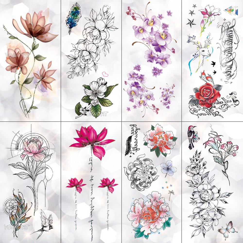 Lotus Peony Rose Flores Impermeable Tatuaje Temporal Etiqueta
