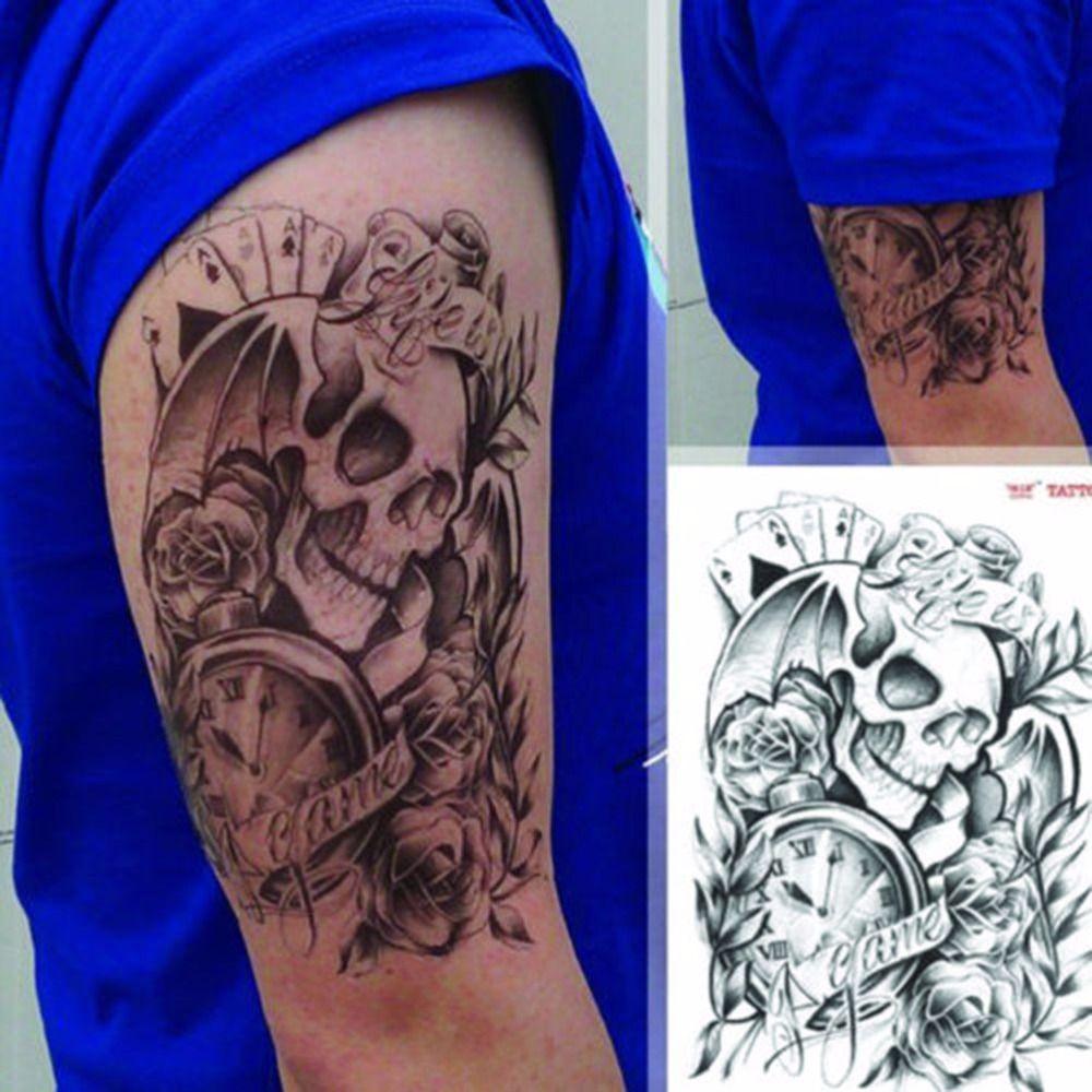 Hombres Hombre Sexy Tatuaje Temporal Cráneo Reloj Cuerpo Brazo