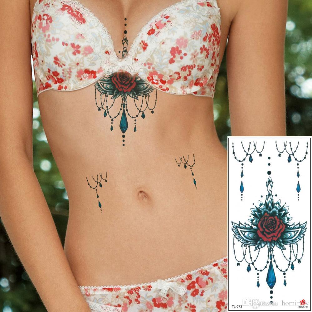 Sexy Mujeres Pecho Sternum Diseños De Tatuajes Temporales Flor De