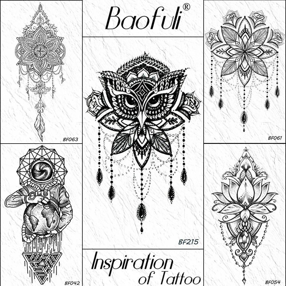 Baofuli Búho De Henna Negro Flor Mandala Geométrica Etiqueta