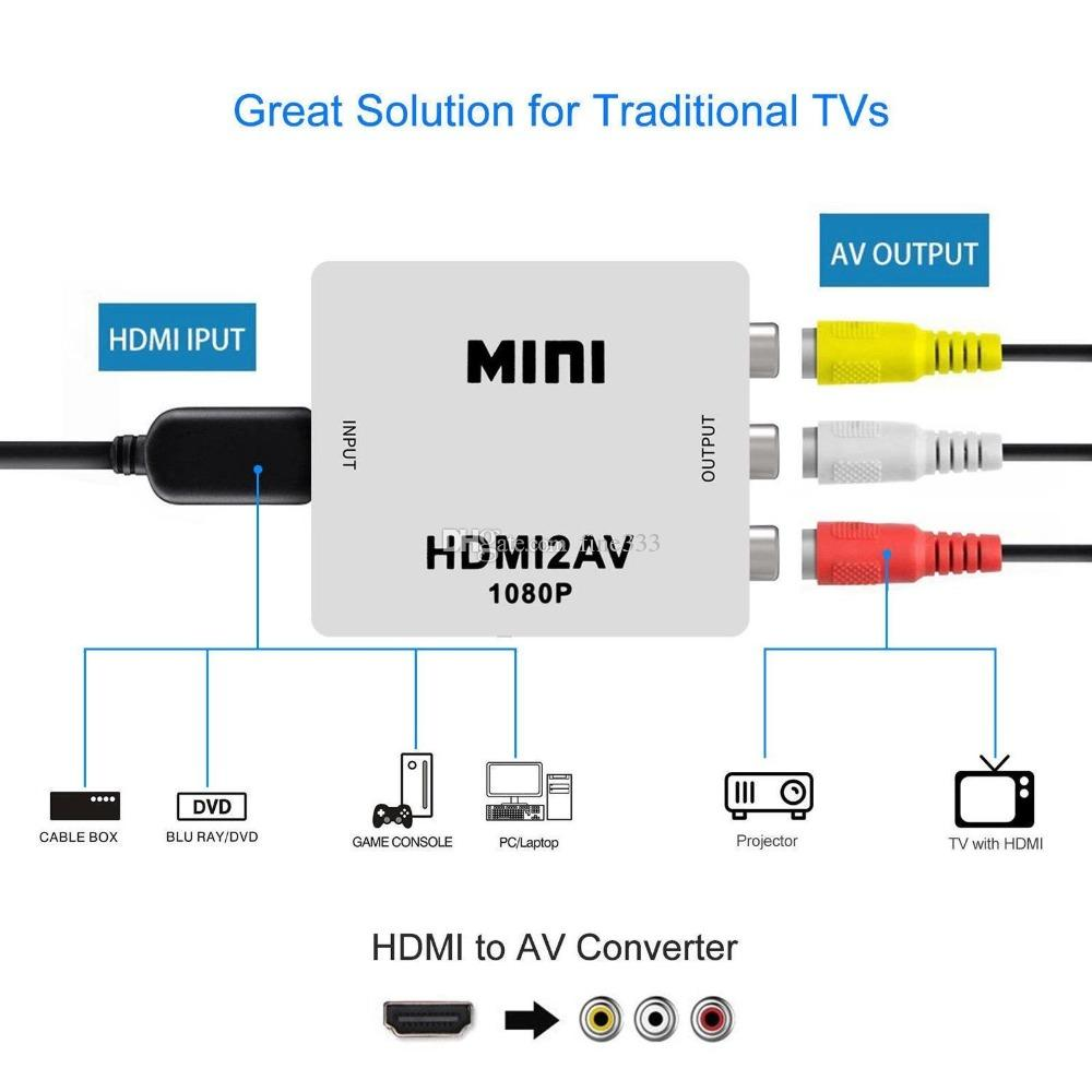 hight resolution of 1080p hdmi mini vga to rca av composite adapter converter with 3 5mm audio vga2av cvbs audio to pc hdtv converter
