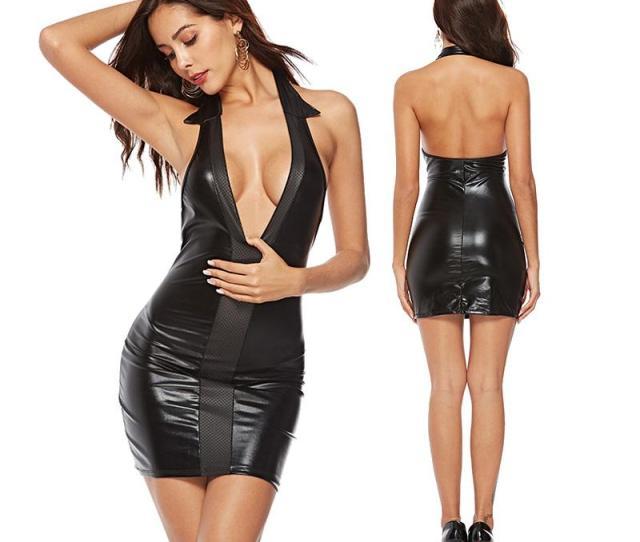 Black Sexy Pvc Street Style Dresses Faux Leather Bodycon Party Mini Dress Backless Night Bar Club