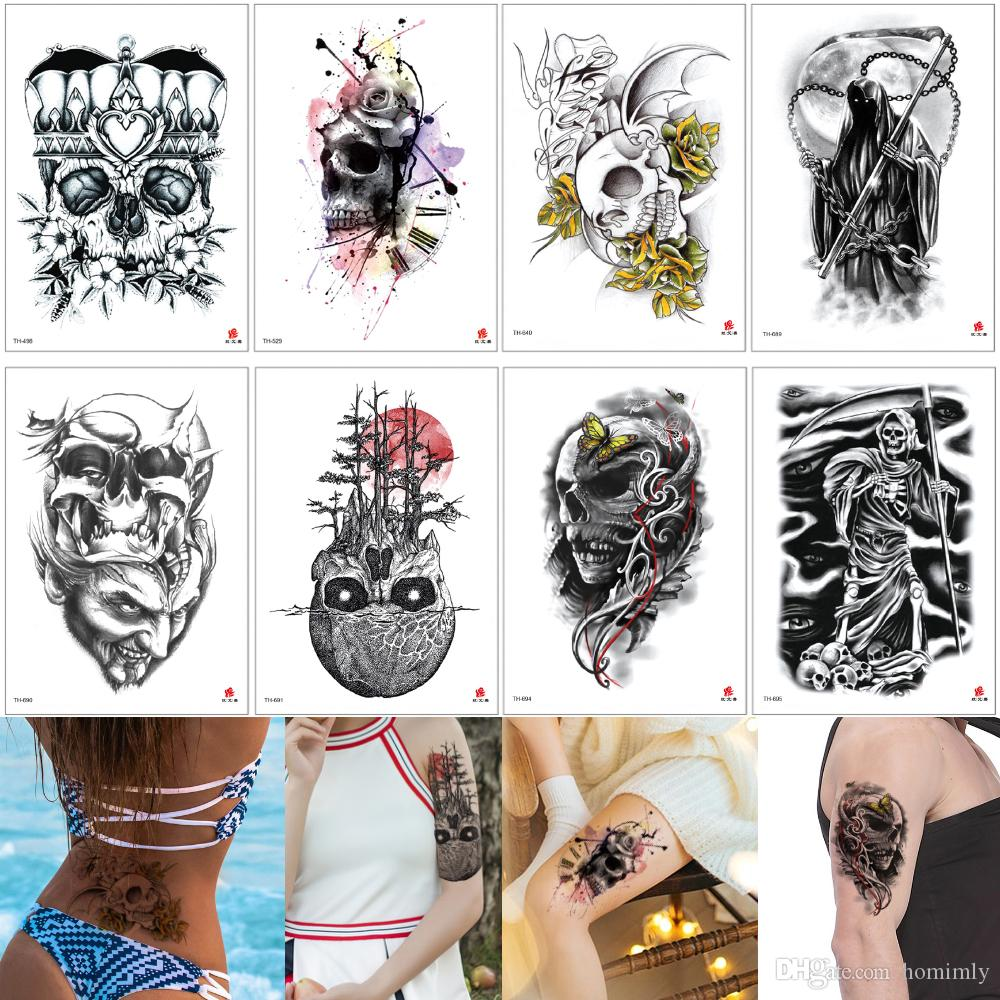 Falso Punk Negro Tatuaje Skull Skeleton Death Sickle Hueso Diseños