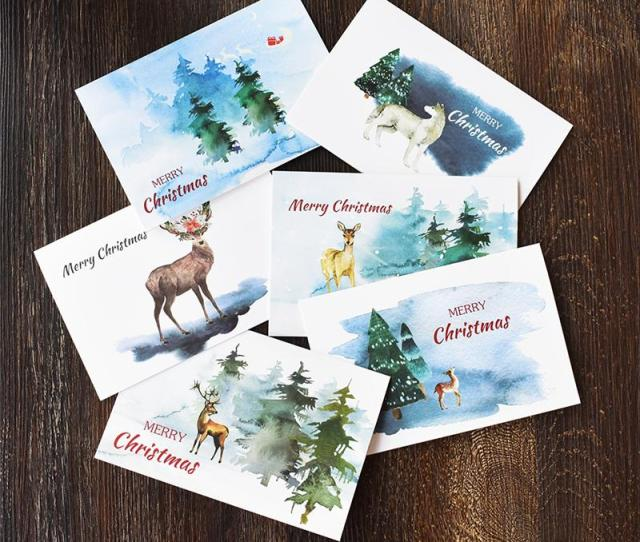 Notes Watercolour Christmas Thank You Card With Envelope Stickers New Year Winter Holidays Custom Blank Inside Greeting Card Free Birthday Greeting Cards