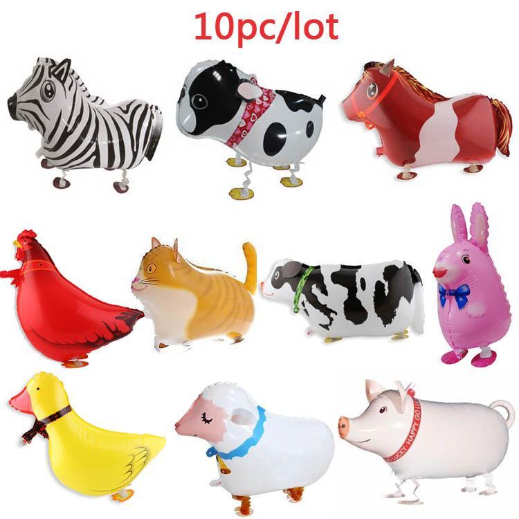 10pcs walking farm animals