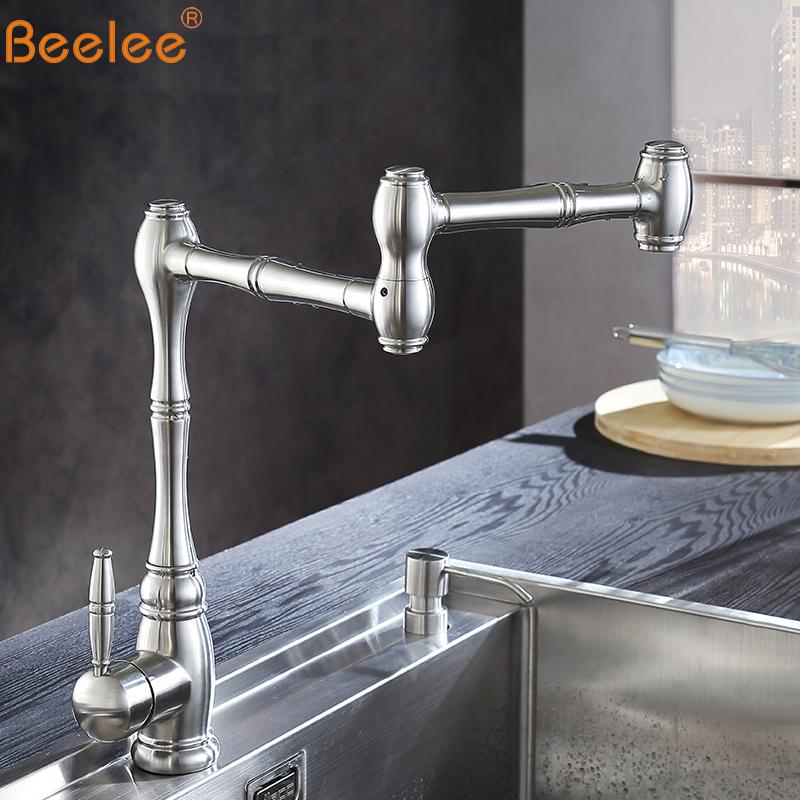 articulating kitchen faucet sink base cabinet with drawers 2019 beelee brass pot filler double joint and 360 degree rotating aerator wall mount taps bl1721n from jasm 128 05 dhgate