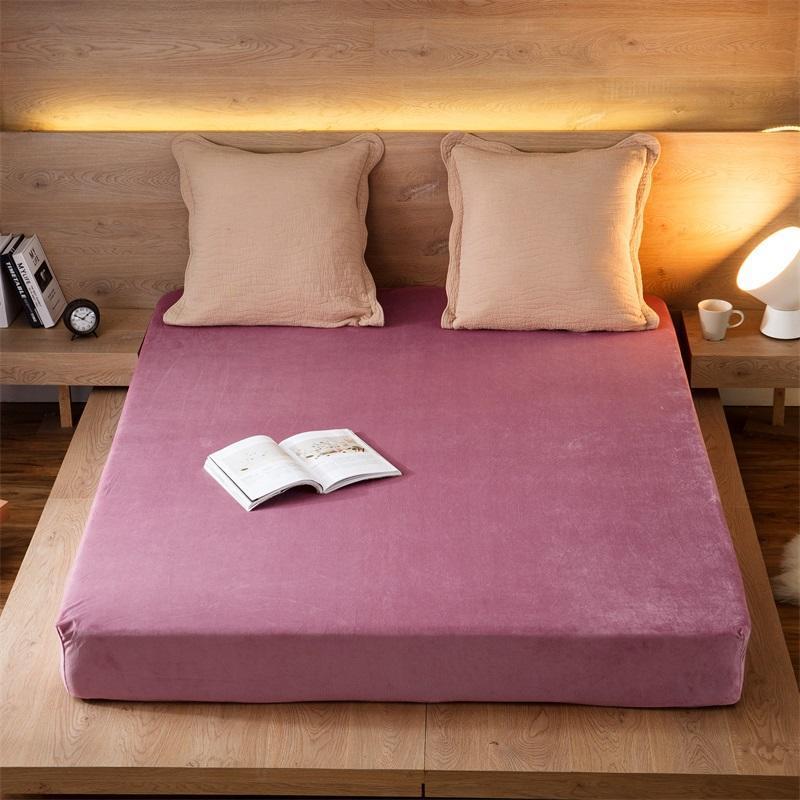 acheter ajuste draps drap de lit avec bande elastique double reine taille 180 200 cm couverture de matelas 100 polyester flanel draps de 48 1 du icelly
