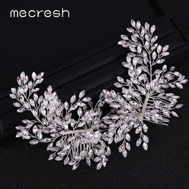 mecresh gorgeous bridal hair combs wedding hair accessories for bride rhinestone leaf flower comb headband jewelry mfs180