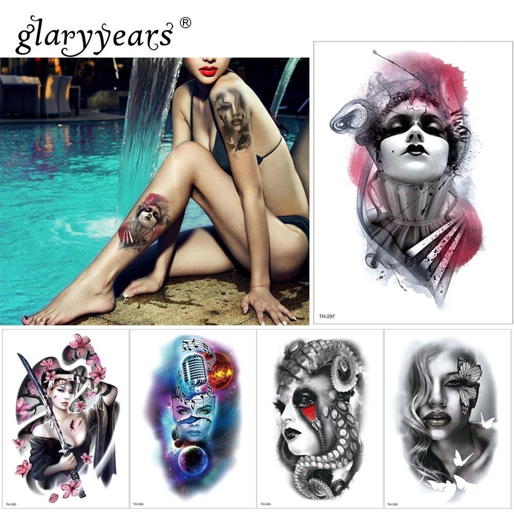 Glaryyears Etiqueta Engomada Del Tatuaje Temporal Hermosa Fake Tatoo