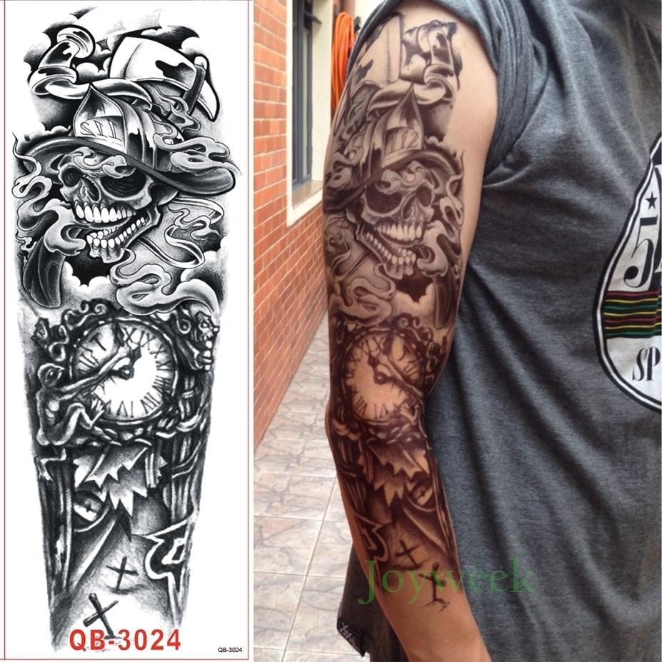 Etiqueta Engomada Del Tatuaje Temporal Impermeable Brazo Completo