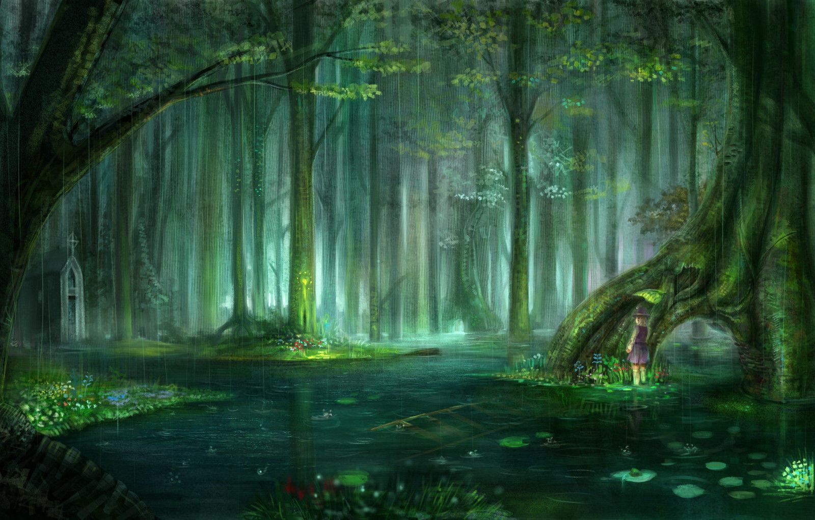 Enchanted Fairy Tale Forest Art Silk Print Poster