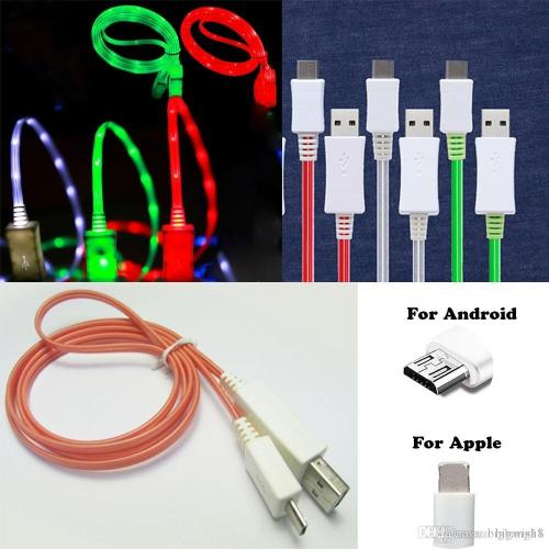 small resolution of big promotion brand new phone rubber led sync equipment usb cable charging wire usb charger flash data cord for android for iphone cable cell phone data