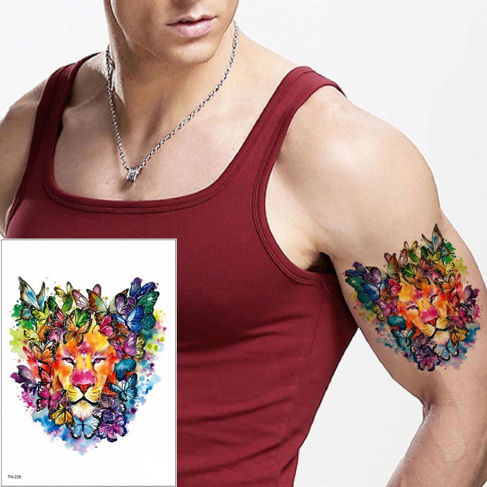 Dibujo A Color Mariposa León Cuerpo Tatuajes A Prueba De Agua