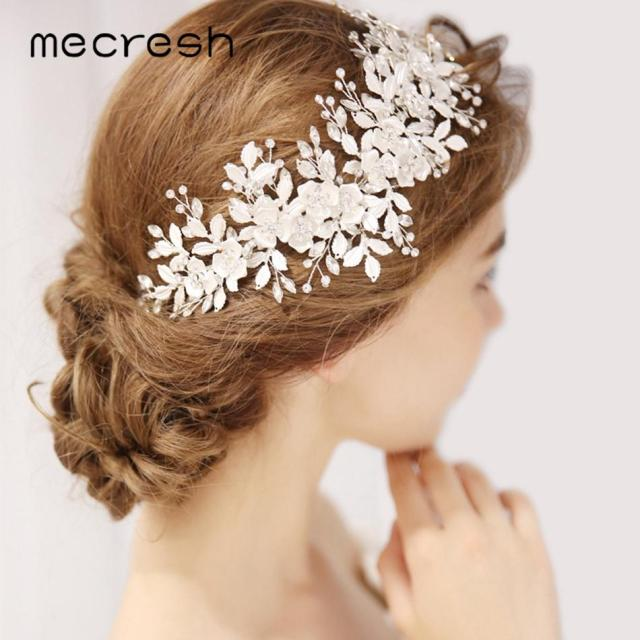 mecresh rhinestone bridal headband wedding hair accessories crystal leaf flower hair comb hairpieces jewelry for women mfs179
