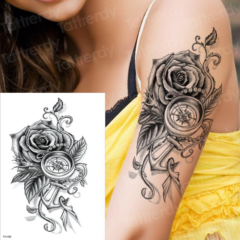 Tatuaje Temporal Rosa Brújula Manga Temporal Tatuajes Brazo Tatuaje