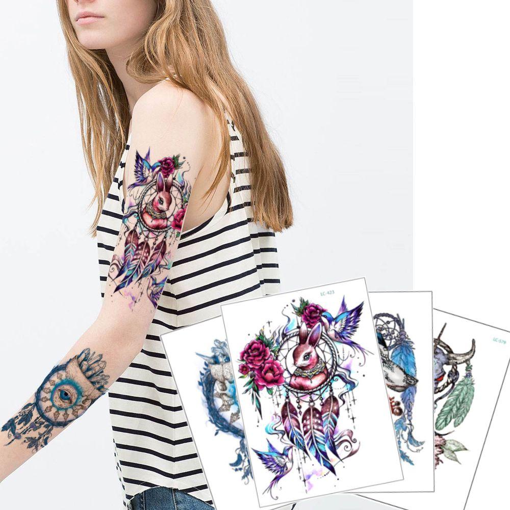Colorido Atrapasueños Tatuaje Temporal Calcomanía Ojo Pluma Pájaro Conejo Cráneo Diseño De Vaca Para Mujer Hombre Arte Corporal Brazo Pierna
