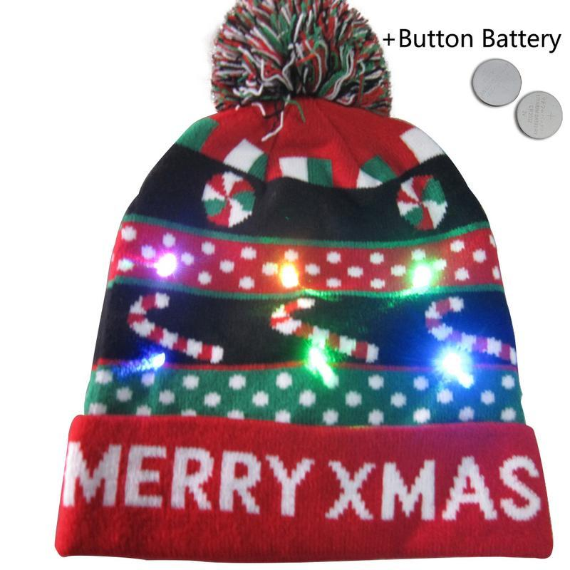 280e09bb6e908 ... 2019 Unisex LED Light Up Ugly Christmas Hat Beanies Knitted Xmas ...