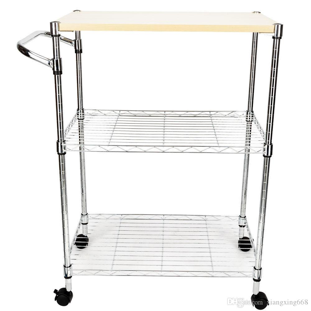 kitchen trolley cart storage 3 tier rolling steel island practica service dining european gadgets expensive from xiangxing668