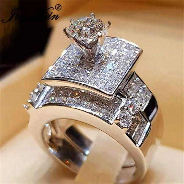 Junxin Fashion Bridal Ring Sets Women 925 Silver Filled Pave White Crystal Big Engagement