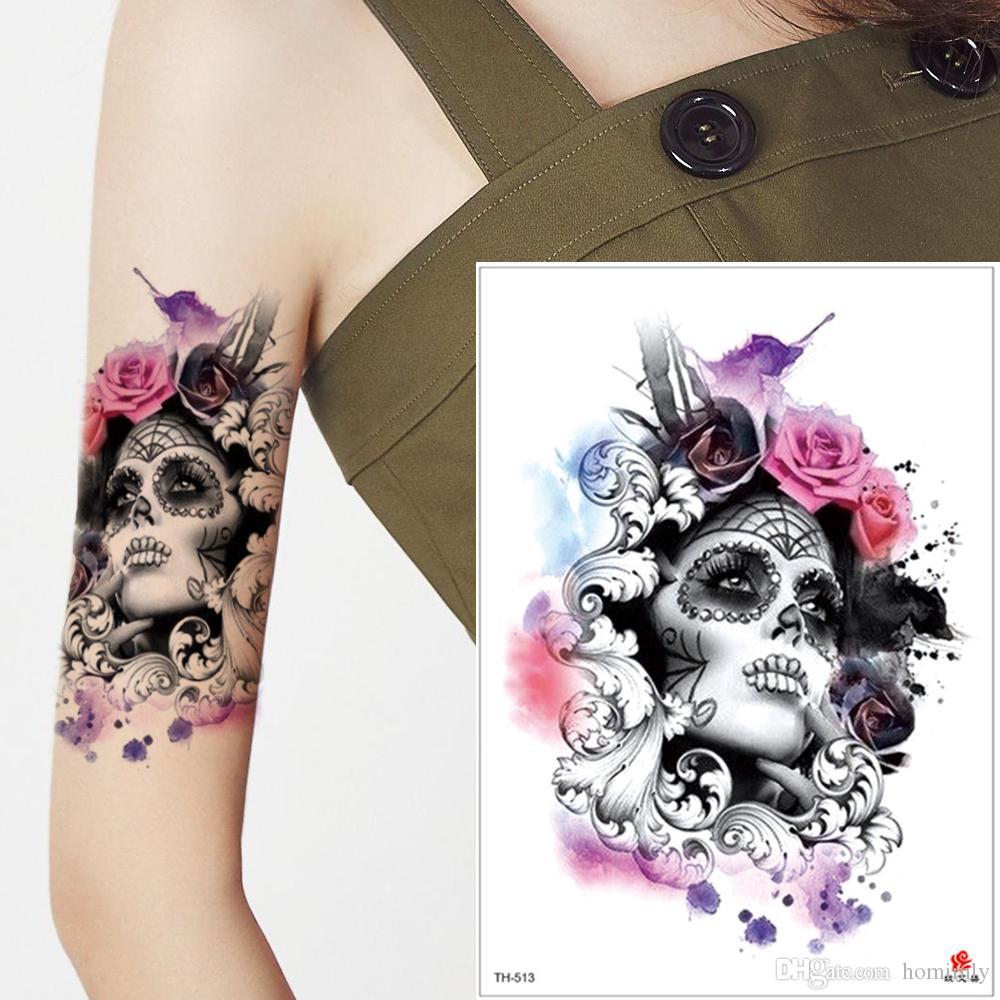 Acuarela Persona Pintura Temporal Etiqueta Engomada Del Tatuaje Flor