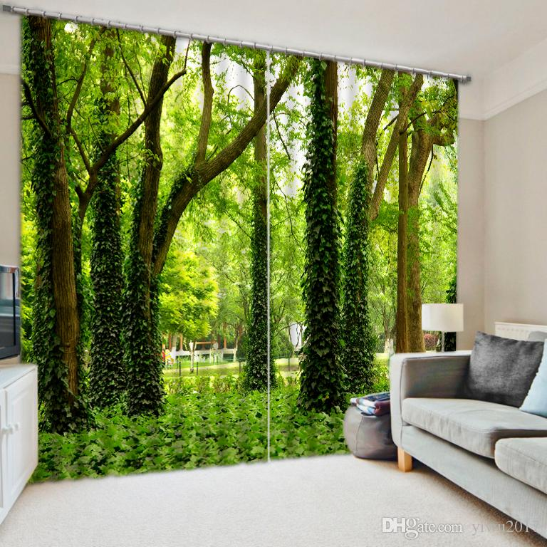 green curtains for living room images of rooms with wood burners custom 3d stereoscopic luxury sunshine forest blackout modern bedroom curtain canada 2019 from yiwu2017