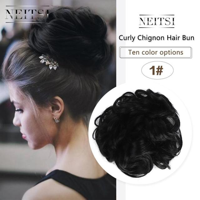 women curly chignon hair bun for brides 10 colors synthetic high extensions ponytail hair bundles hairpieces buns 1#