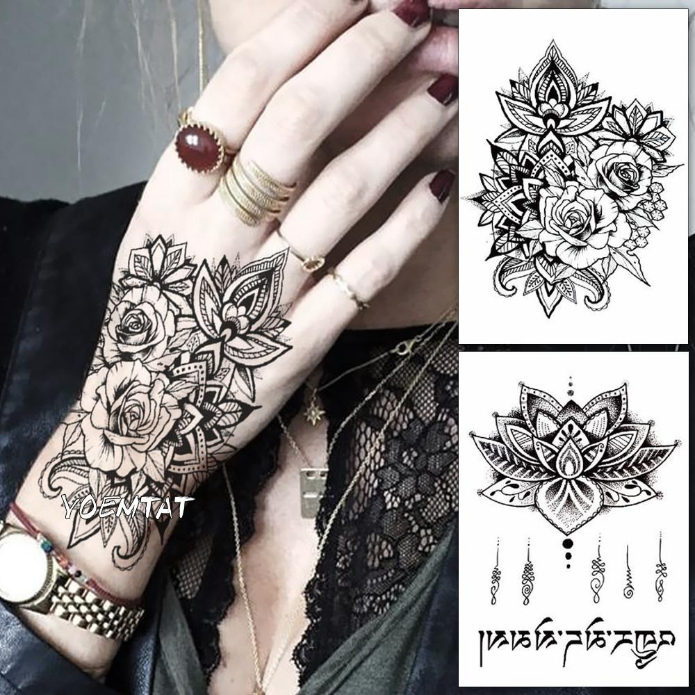 Etiqueta Engomada Del Tatuaje Temporal A Prueba De Agua Flor Color
