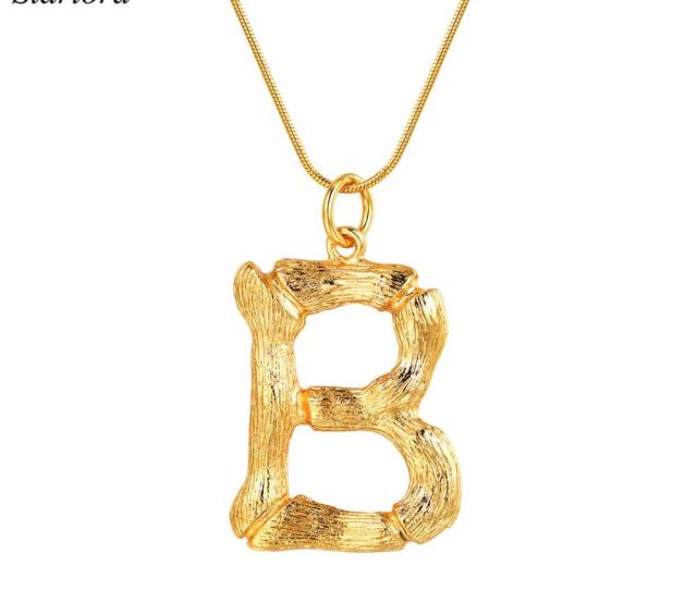 Wholesale Big Initial Letter B Necklace Gold 26 Alphabet Jewelry Personalized Gift For Women Men Statement Bamboo Letter Charm P9075 Lockets Fashion Jewelry