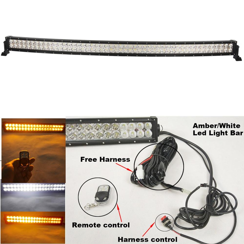 hight resolution of curved 288w 50inch white amber led light bar led foglights for off road jeep truck utv 4x4 remote control wiring harness kit led work light manufacturers