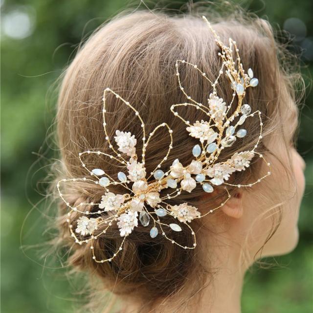 wholesale vintage bridal wedding hair pins headband 100% handmade women hairpin tiara opal flower bride accessories jewelry