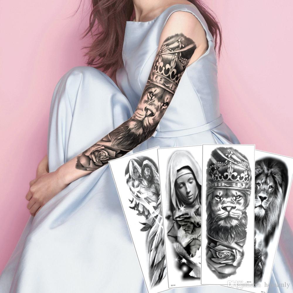 Grande Grande Brazo Completo Falso Negro Arte Corporal Etiqueta Engomada Del Tatuaje León Guerrero Corona Monja Paloma Sexy ángel Etiqueta Tatuaje