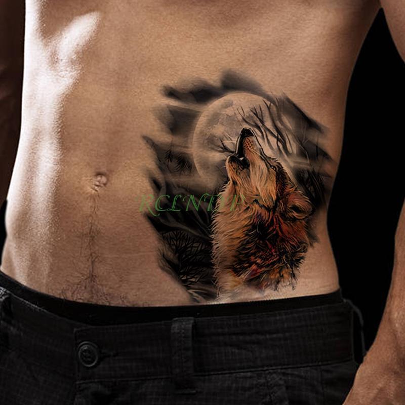 Impermeable Etiqueta Engomada Del Tatuaje Temporal Lobo Rugido Luna