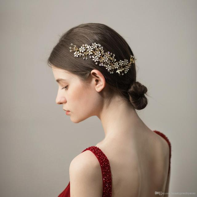 pearls metal flowers wedding headband with comb gold accessories for women engagement party decoration accesorios boda