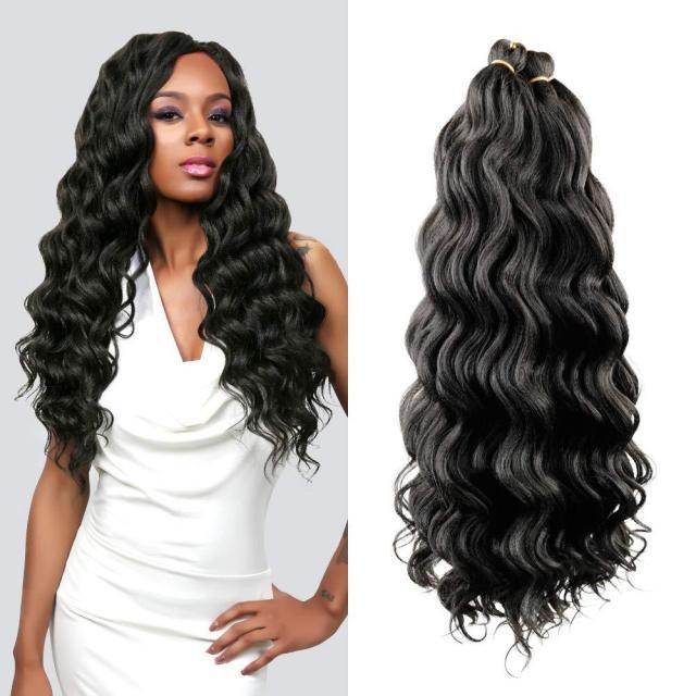 hot! 6pcs full head 18inch ocean wave synthetic hair natural black braids water weave deep twist crochet braids hair extensions for women