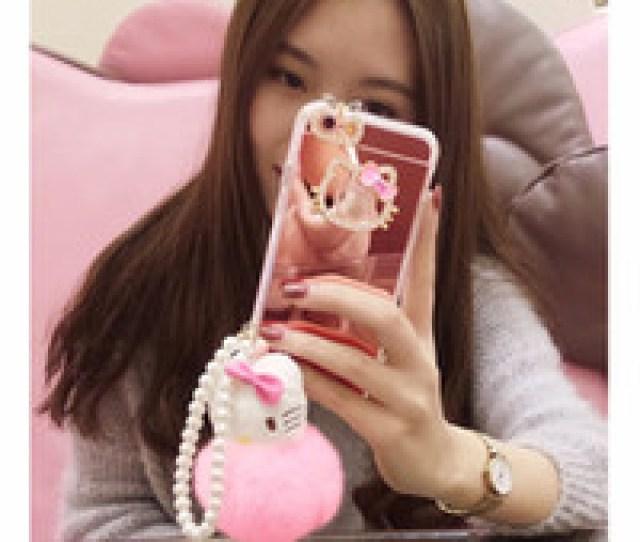 Photos Wholesale Diamond Kitty Sfor Iphone Luxury Mirror Diamond Rhinestone Hello Kitty Mirror Soft Tpu Phone
