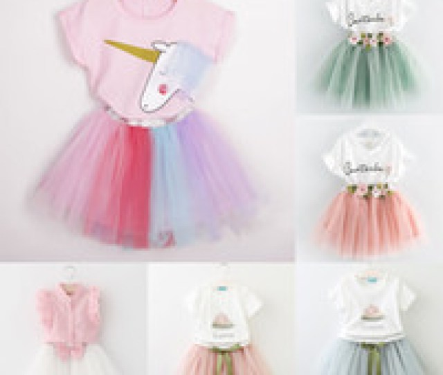 Baby Girls Lace Skirts Outfits Girls Letter Print Topflower Tutu Skirts Pcs Set Summer Baby Suit Boutique Kids Clothing Sets Styles C