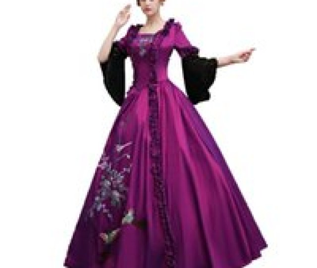 Wholesale Mardi Gras Ball Gowns Online Freeship Real Carnival Flower Embroidery Court Medieval Dress Renaissance
