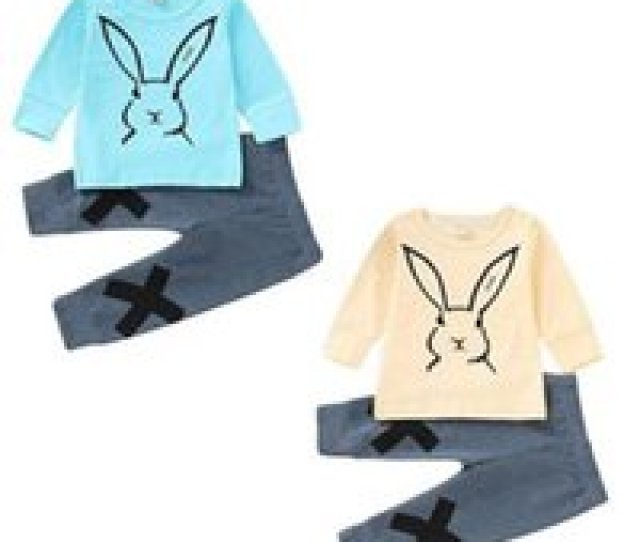 Wholesale Kids Boutique Clothing Online Easter Baby Girls Boys Rabbit Outfits Children Bunny Print Top
