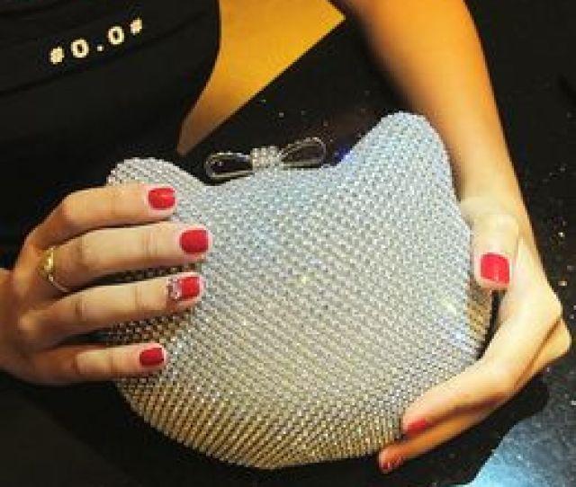 Diamond Kitty  Gold Silver Full Side Diamond Clutch Evening Bag Lovely Bowknot Hasp Crystal