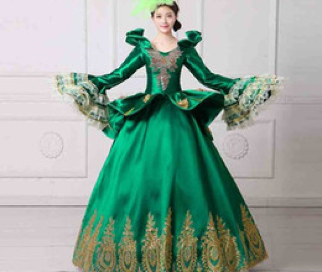 Discount Mardi Gras Ball Gowns Vampire Queen Masquerade Ball Gown  Royal Green Embroidery Marie