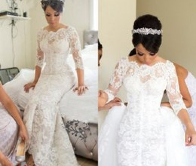 c55f544d8e72 Steven Khalil Cathedral Train Mermaid Wedding Dresses With Detachable Train  2017 Lace Tulle Dubai Arabic Long
