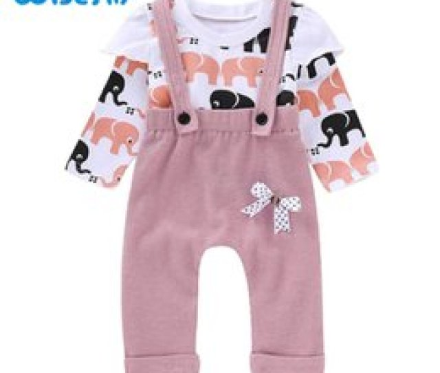 Wisefin Baby Girls Clothes Set Long Sleeve Elephant Topsoveralls Pants Toddler Outfits Print Infant Clothing Sets Kids Clothes Discount Baby Clothes