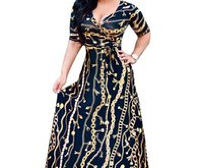 Indian Dress Sari 2017 New Cotton European Fashion Hot Golden Long Chain Pattern Printing Sleeve Nightclub Sexy Dress Skirt Cheap Hot Sexy Indians