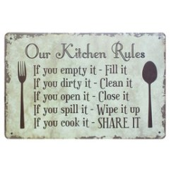 Kitchen Plaques Mobile Trailers Coupons Promo Codes Deals 2019 Get Cheap Our Rules Shabby Chic Metal Signs Bar Pub Restaurant Home Decor