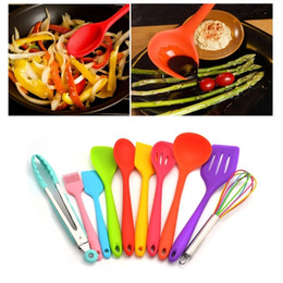 colorful kitchen accessories ikea cabinet doors discount utensils set 2019 silicone kit spoon shovel spatula colander cooking gadgets