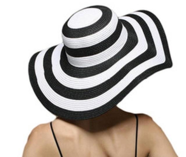 Womens Foldable Big Brim Striped Straw Sun Hat Wide Large Brim Cap Summer Travel Beach Floppy Hats Sun Protection Cheap Big Floppy Straw Hat