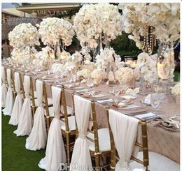 chair covers for parties to buy sofa sleeper wholesale in wedding supplies cheap simple but elegant white chiffon cover and sashes romantic bridal party banquet